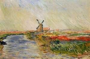 Monet - Pola tulipanów z młynem w Rijnsburg -Tulip Fields with Rijnsburg Windmill