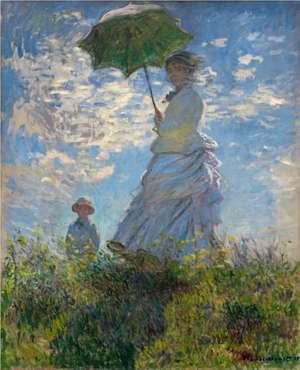 Obraz Moneta -  Spacer. Kobieta z parasolką - lub inna nazwa - Pani Monet z synem