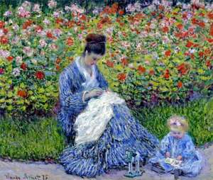 Obraz - Pani Monet i dziecko - Camille Monet and a Child in the Artist's Garden in Argenteuil