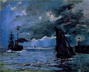 Obraz Moneta - Pejzaż morski, nocny efekt