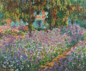 Obraz  'Ogród Moneta w Giverny'- irysy. Le jardin de l'artiste à Giverny